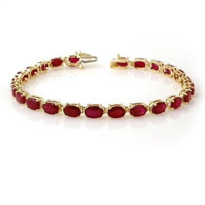 ACA Certified 16.0ctw Ruby Tennis Bracelet Yellow Gold
