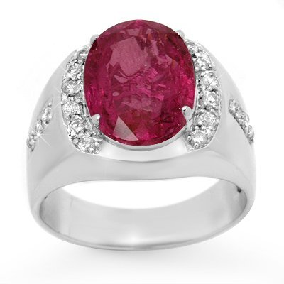 Certified 7.33ct Pink Sapphire Diamond Men's Ring Gold