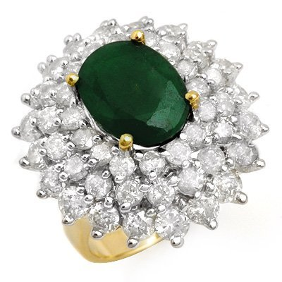 Overstock 10.02ct Certified Emerald & Diamond Ring Gold