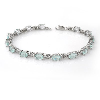 Certified 8.0ctw Aquamarine Tennis Bracelet White Gold