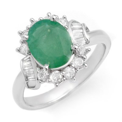 ACA Certified 2.64ctw Emerald & Diamond Ring 14K Gold