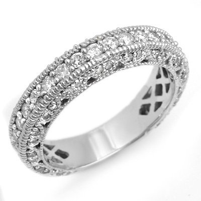 Certified 1.00ctw Diamond Pave Ring 14K White Gold