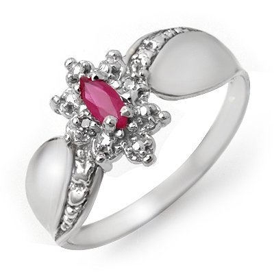 Certified 0.22ctw Ruby & Diamond Ladies Ring White Gold