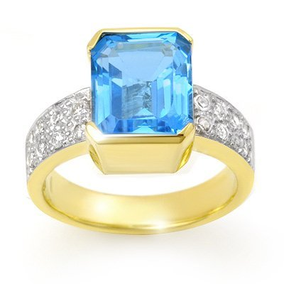 Overstock 7.26ctw Certified Blue Topaz & Diamond Ring