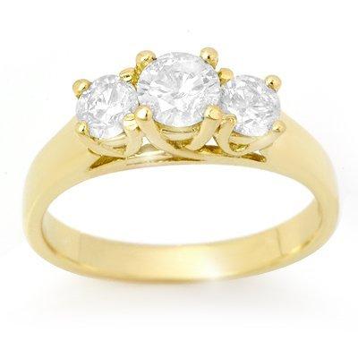Certified 1.0ctw Three-Stone Diamond Ring 14K Gold
