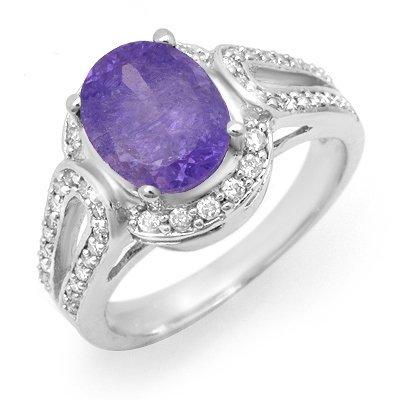 Certified 3.50ctw Tanzanite & Diamond Ring White Gold