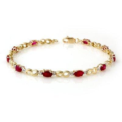 Certified 3.76ctw Ruby & Diamond Bracelet Yellow Gold