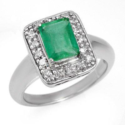 Certified 2.03ctw Emerald & Diamond Ring White Gold
