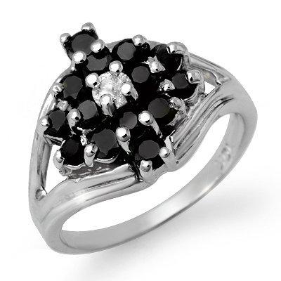 Certified 1.01ctw White & Black Diamond Ring White Gold