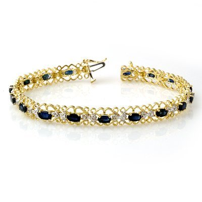 Certified 7.02ctw Sapphire & Diamond Bracelet Gold