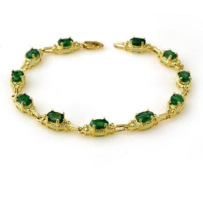 Overstock 6.10ctw Emerald Ladies Bracelet Yellow Gold