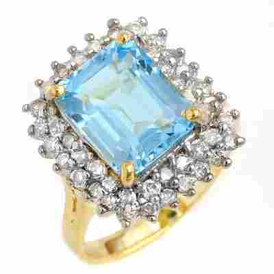 ACA Certified 5.10ct Blue Topaz & Diamond Ring 14K Gold