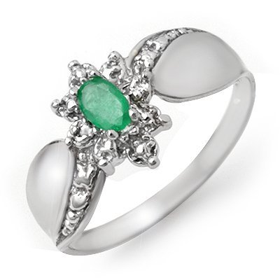 ACA Certified 0.22ctw Emerald & Diamond Ring White Gold
