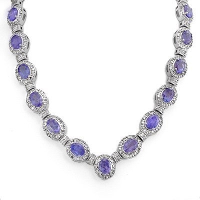 Certified 38.70ctw Tanzanite & Diamond Necklace Gold