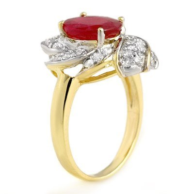 Certified 3.55ctw Ruby & Diamond Ring 14K Yellow Gold
