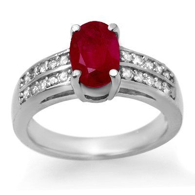 Certified 3.38ctw Ruby & Diamond Ring 14K White Gold
