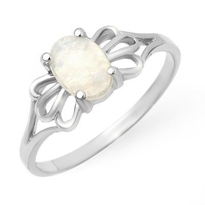 Overstock Certified .65ctw Opal Ladies Ring White Gold