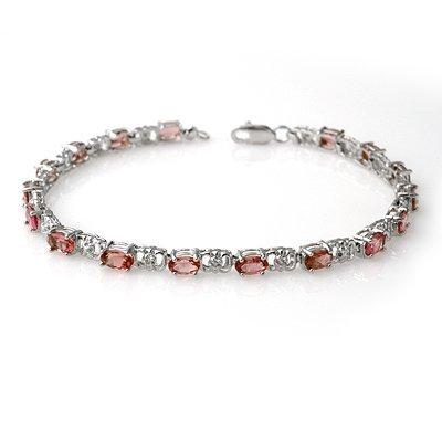 Certified 4.70ctw Pink Tourmaline & Diamond Bracelet