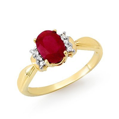 Certified 1.26ctw Ruby & Diamond Ring Yellow Gold