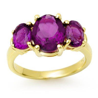 Certified Three-Stone 6.15ctw Amethyst Ring Yellow Gold