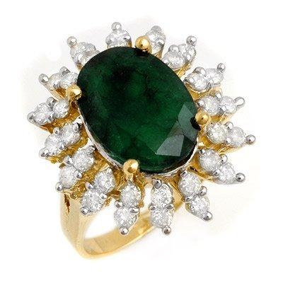Certified 6.45ct Emerald & Diamond Ring 14K Yellow Gold