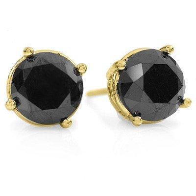 Certified 3.0ctw Black Diamond Stud Earrings 14K Gold