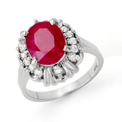 Certified 3.33ctw Ruby & Diamond Ladies Ring White Gold