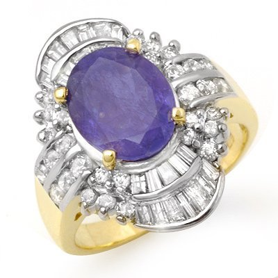 ACA Certified 5.20ctw Tanzanite & Diamond Ring 14K Gold