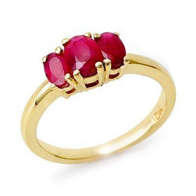 Certified Three-Stone 1.0ctw Ruby Ring Yellow Gold