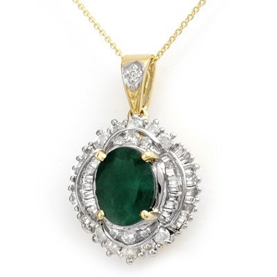Certified 5.35ctw Emerald & Diamond Pendant 14K Gold
