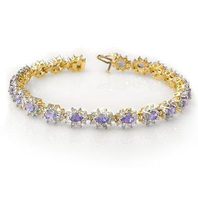 Certified 10.0ctw Tanzanite & Diamond Bracelet 14K Gold