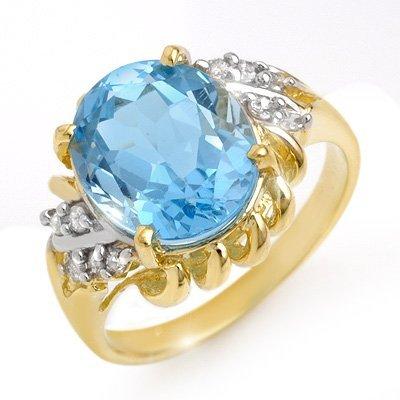 Certified 5.22ctw Diamond & Blue Topaz Ring Gold