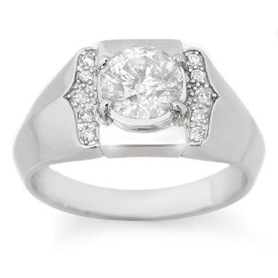 Certified Diamond 1.65ctw Men's Ring White Gold Jewelry