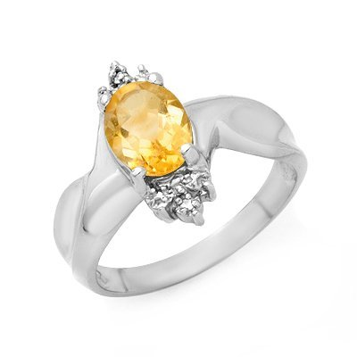 Certified 1.09ctw Citrine & Diamond Ring White Gold