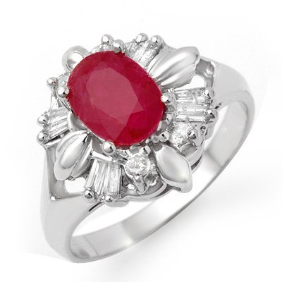 Certified 2.45ctw Ruby & Diamond Ring in White Gold