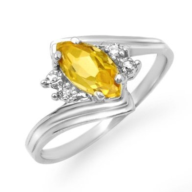 Certified .48ctw Citrine & Diamond Ring White Gold