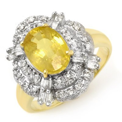 Certified 3.05ctw Sapphire & Diamond Ring Yellow Gold