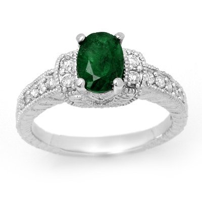 Emerald & Diamond Ring 1.60ctw Certified 14K White Gold