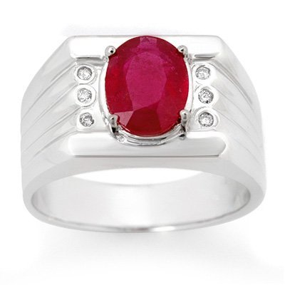 Men's 3.06ctw Diamond & Ruby Ring in Solid White Gold