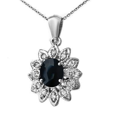 Certified 1.75ctw Diamond & Sapphire Pendant White Gold