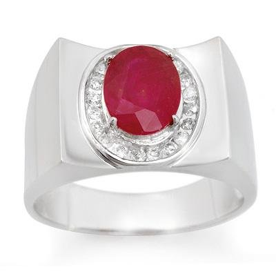 Men's 3.33ctw Diamond & Ruby in Ring Solid White Gold