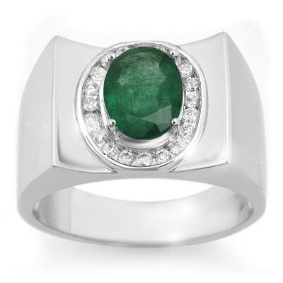 Men's 2.33ctw Diamond & Emerald Ring Solid White Gold