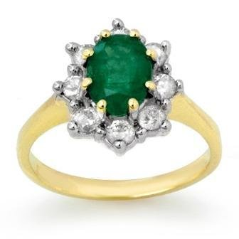 Certified 2.02ctw Emerald & Diamond Ring Yellow Gold