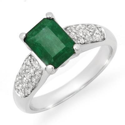 Certified 1.26ctw Emerald & Diamond Ring White Gold