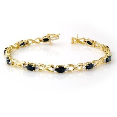 Certified 7.33ctw Sapphire Diamond Bracelet Yellow Gold