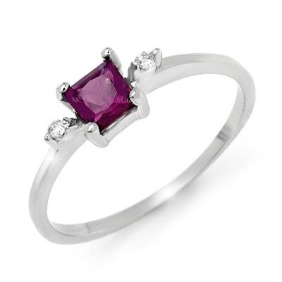 Certified .33ctw Amethyst & Diamond Ring White Gold