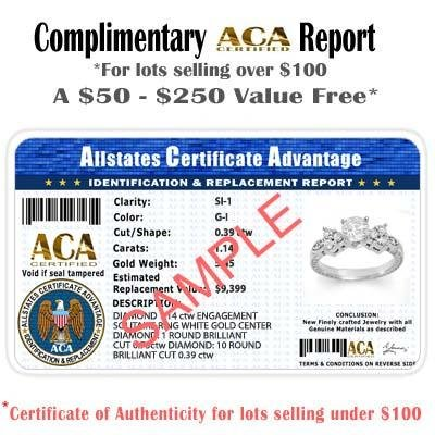 ACA Certified .77ctw Emerald & Diamond Ring White Gold - 2