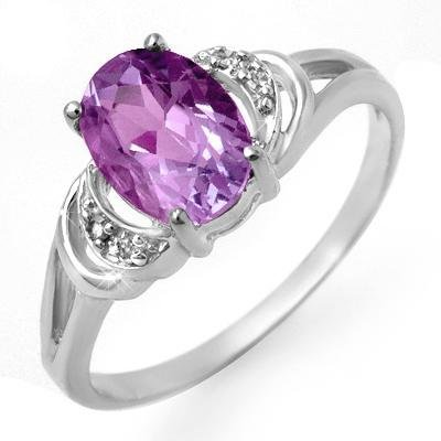 Certified 1.05ctw Amethyst & Diamond Ring White Gold