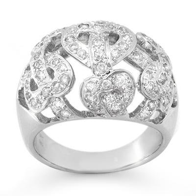 Certified .85ctw Diamond Fashion Ladies Ring White Gold