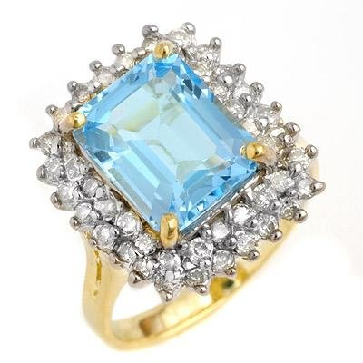 ACA Certified 5.10ct Blue Topaz & Diamond Ring 14K Gold